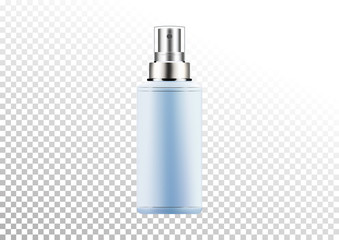 Vector empty silver and blue package for cosmetic products with batcher, tube for lotion, shower gel, shampoo, cream. Realistic mockup of plastic container isolated on white-transparent background.