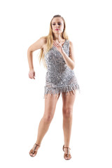 Blonde party woman dancing in scale sequin metallic dress. Full body length portrait isolated on white studio background.