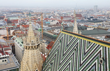 View of Vienna over Saint Stephen Cathedral roof
