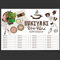 menu shabu sukiyaki restaurant template design graphic objects