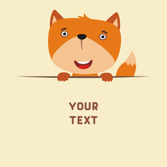 Funny fox looks out from behind the text. Postcard with cartoon fox with a field for your text.