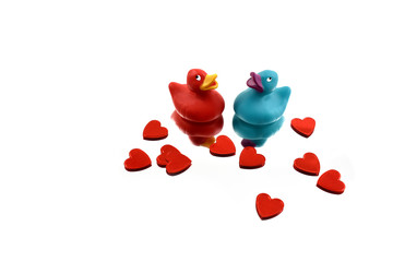 Romantic duck with hearts stock images. Valentines Day concept. Colored rubber ducks. Two rubber ducks in love