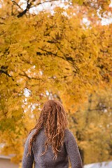 Woman looking at the autumn trees in park