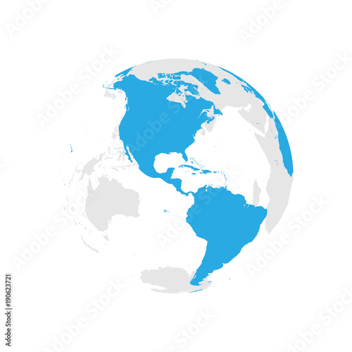 Earth globe with blue world map focused on americas flat vector earth globe with blue world map focused on americas flat vector illustration gumiabroncs Images