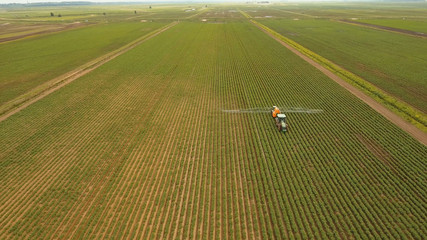Aerial view tractor spraying the chemicals on the large green field. Spraying the herbicides on the farm land. Treatment of crops against weeds.