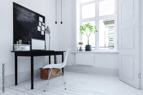 Kleines Buro In Weissem Raum Mit Schreibtisch Und Schwarzer Deko