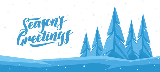 Vector winter banner with Hand lettering of Seasons Greetings and graphic pine forest