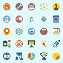 icons set about Digital Marketing. with pawn, video player, pie chart, missile, shopping cart and trophy