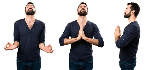 Set of Handsome man with beard in zen position