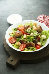 Chicken meatballs salad