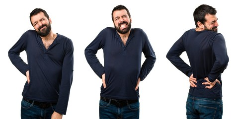 Set of Handsome man with beard with back pain