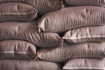 Grain sack arranged in factory