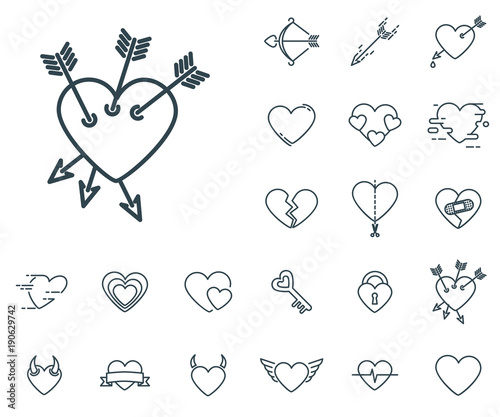 Heart With Three Arrows Icon In Set On The White Background Set Of