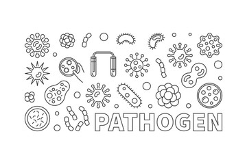 Pathogen vector concept line horizontal illustration or banner