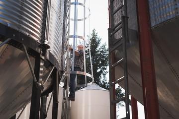 Man climbing ladder of grain elevator
