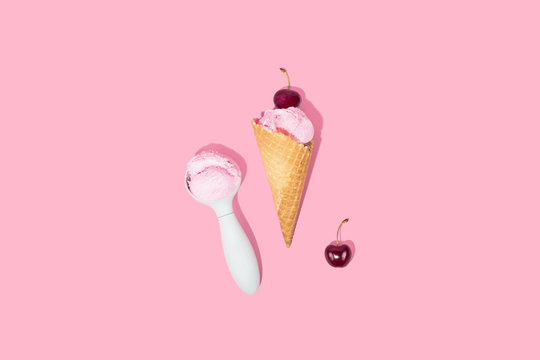 Ice-cream Scoop on Pink Background