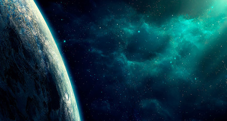 Space scene. Blue nebula with big planet. Elements furnished by NASA. 3D rendering