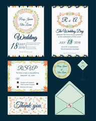 Vector set of invitation cards with  flowers elements Wedding collection