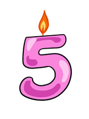 number pink   five candle illustration drawing and white background