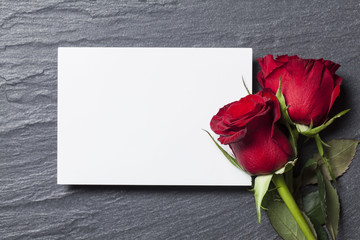 Red rose with a blank white card for your message