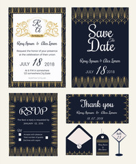 Vector set of invitation cards with  elements Wedding collection