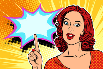 pop art woman pointing finger up