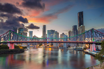 Printed kitchen splashbacks Australia Brisbane. Cityscape image of Brisbane skyline, Australia with Story Bridge during dramatic sunset.