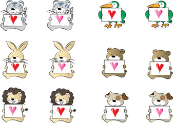 animals with card and love