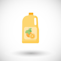 Bottle of orange juice vector flat icon