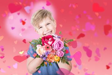 Junge mit Rosen und Herzen