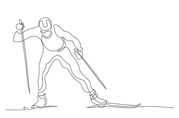 Continuous line drawing. Illustration shows a athlete runs on skis. Cross country skiing. Winter sport. Vector illustration