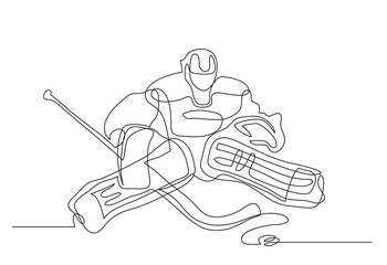 Continuous line drawing. Illustration shows a hockey goalkeeper in action. Ice Hockey. Vector illustration