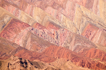 The Hornocal, the mountain of the 14 colours in the noth west of Argentina. Humahuaca village