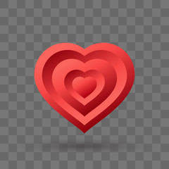 Red heart volumetric icon. Conception of infinite love. Abstract heart shape. Vector illustration