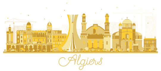 Algiers Algeria City Skyline Golden Silhouette.