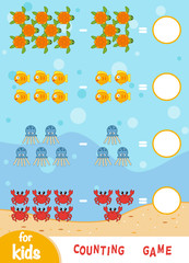 Counting Game for Children. Count the number of sea animals and write the result.