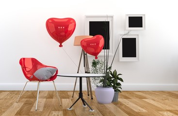 Red chair and red balloons, - Living room interior wooden floor on white wall. 3D rendering