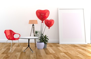 Red Chair and table, Red balloons and lamp, Frame and plants. 3D rendering