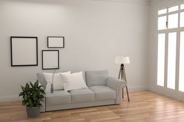 White Room Interior Scandinavian Style - Modern room with sofa lamp pillow plants and frame, wooden floor and window on white wall background. 3D rendering