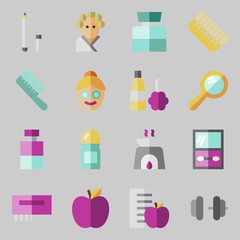 icons set about Beauty. with eye shadow, apple, dumbbell, aromatherapy, diet and hair curler