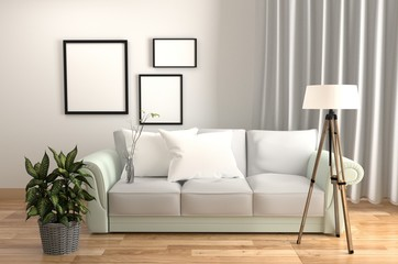 Living Room Interior White style - with Sofa pillows plants lamp and frames - Wooden floor on White wall background. 3D rendering