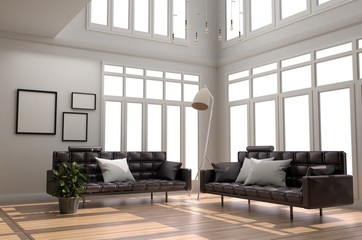 Interior Room Design - Living Room White Scandinavian style with wooden floor and white wall background. 3D rendering
