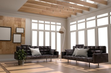 Living Room Interior Scandinavian Style - Modern room with sofa frame pillow lamp plants window - Wooden Style with wood floor and white wall background. 3D rendering