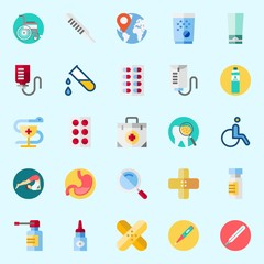 Icons set about Medical with pharmacy, spray, thermometer, band aid, yoga and tooth