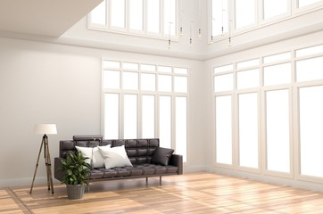 Interior Room Design Living Room White Scandinavian style. 3D rendering