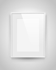 Realistic empty rectangular white frame with passepartout on gray background, border for your creative project, mock-up sample, picture on the wall, vector design object