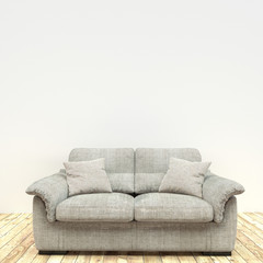 White sofa in wooden floor on white wall empty room interior design ,minimal room design