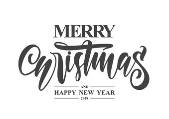 Hand type lettering of Merry Christmas and Happy New Year on white background