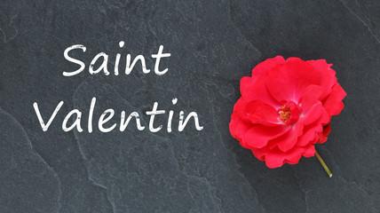 Saint Valentin et rose rouge sur ardoise