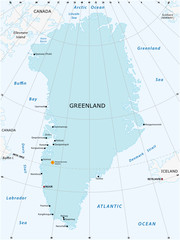 Vector map of the autonomous state of Greenland